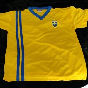 Large yellow and blue Sweden soccer jersey